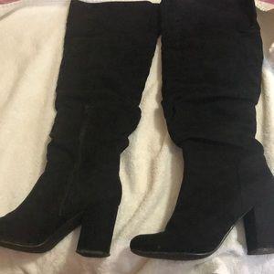 Knee high black boots w/3 inch heels